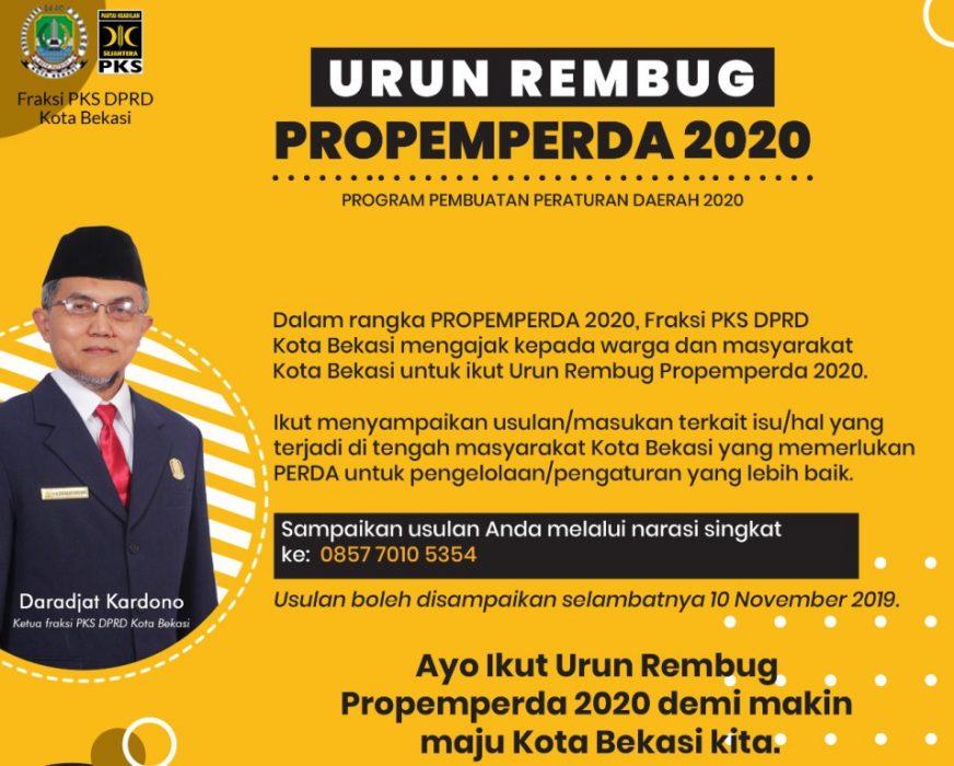 Photo of Fraksi PKS Ajak Masyarakat Urun Rembug Propemperda 2020