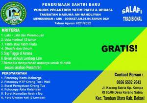 sekolah gratis, nyantri gratis, ponpes gratis, ngaji gratis, Ponpes Taubatan Nasuha An-Nahdliyah, pendidikan gratis