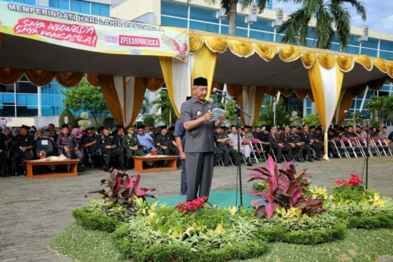Ahmad Syaikhu saat memberikan sambutan dalam peringatan Hari Lahir Pancasila