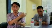 Herryasa Kepala Cabang PT ABC didampingi legal perusahaan EM Jagat Kausar. Foto: Ars/Suarapena.com
